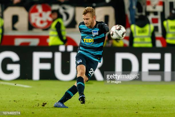 Fabian Lustenberger of Hertha BSC in action during the Bundesliga match between VfB Stuttgart and Hertha BSC at MercedesBenz Arena on December 15...