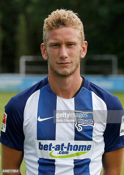 Fabian Lustenberger of Hertha BSC poses during the Hertha BSC Team Presentation on July 12 2016 in Berlin Germany