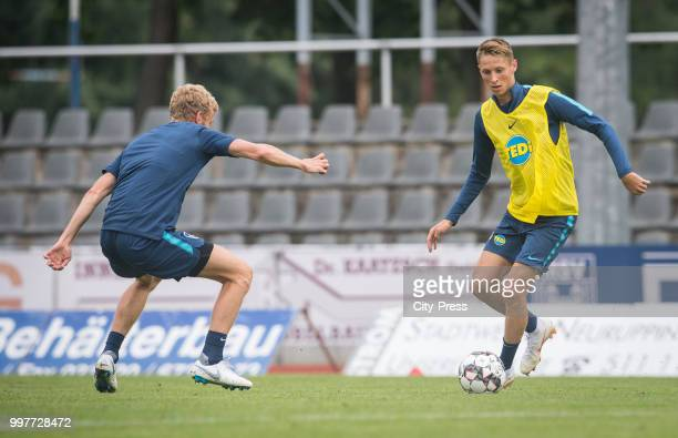 Fabian Lustenberger Palko Dardai during the Hertha BSC training camp on july 13 2018 in Neuruppin Germany