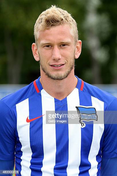 Fabian Lustenberger poses during the Hertha BSC team presentation on July 10 2015 in Berlin Germany