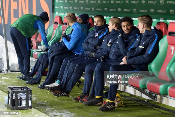 Fabian Lustenberger Salomon Kalou Arne Maier Peter Pekarik Alexander Esswein Valeantino Lazaro and Jonathan Klinsmann of Hertha BSC during the...