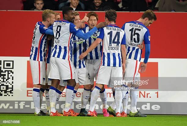 Fabian Lustenberger Salomon Kalou Mitchell Weiser Genki HaraguchiValentin Stocker and Sebastian Langkamp of Hertha BSC celebrate after scoring the 01...