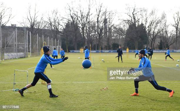 Fabian Lustenberger throw the medicine ball to Mathew Leckie of Hertha BSC during the training at the Schenkendorfplatz on february 19 2018 in Berlin...