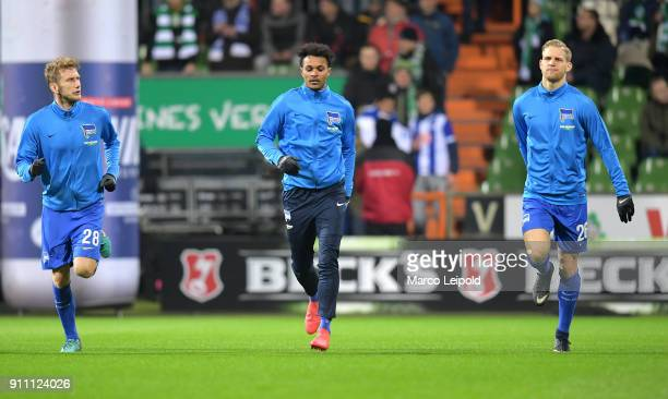 Fabian Lustenberger Valentino Lazaro and Arne Maier of Hertha BSC before the game between SV Werder Bremen and Hertha BSC on january 27 2018 in...