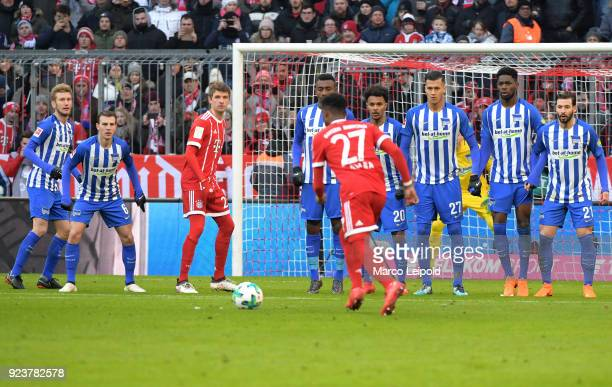 Fabian Lustenberger Vladimir Darida of Hertha BSC Thomas Mueller of FC Bayern Muenchen Salomon Kalou of Hertha BSC David Alaba of FC Bayern Muenchen...