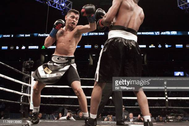 Fabian Maidana defeats Justin Savi by 3rd Round TKO in their Super Lightweight fight at Barclays Center on April 21 2018 in Brooklyn