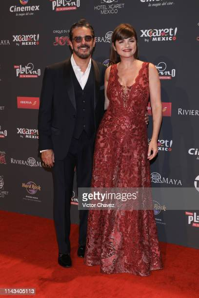 Fabian Mazzei and Araceli Gonzalez attend the red carpet of the Premios Platino 2019 at Occidental Xcaret Hotel on May 12 2019 in Playa del Carmen...