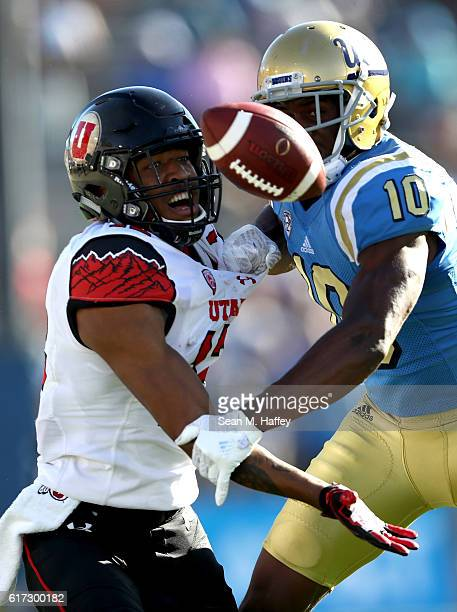Fabian Moreau of the UCLA Bruins breaks up a pass intended for Tim Patrick of the Utah Utes during the second half of a game at the Rose Bowl on...