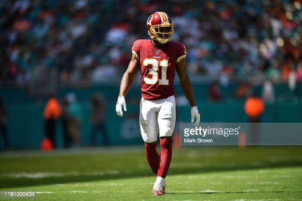 Fabian Moreau of the Washington Redskins against the Miami Dolphins in the first quarter at Hard Rock Stadium on October 13 2019 in Miami Florida