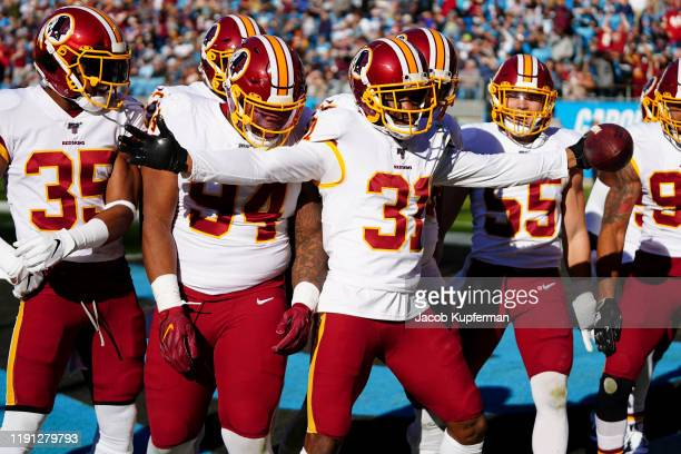 Fabian Moreau of the Washington Redskins celebrates an interception during the second quarter during their game against the Carolina Panthers at Bank...