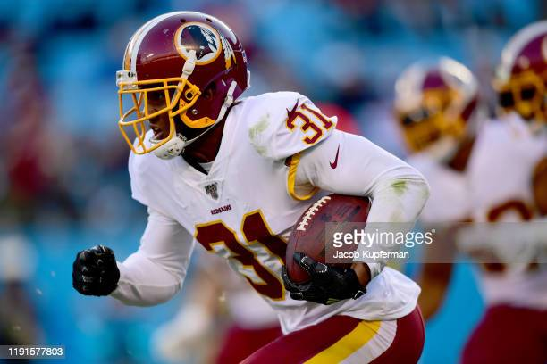 Fabian Moreau of the Washington Redskins during the second half during their game against the Carolina Panthers at Bank of America Stadium on...