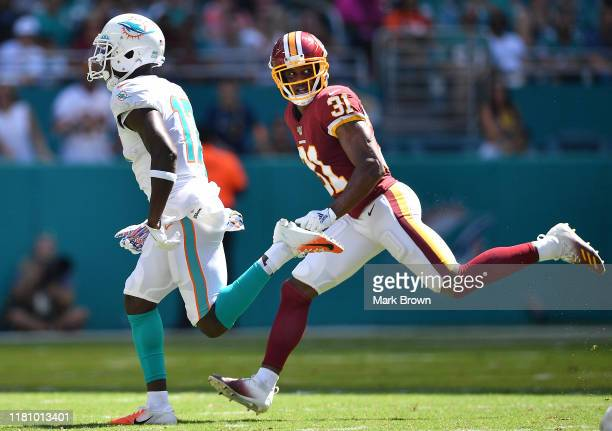 Fabian Moreau of the Washington Redskins in action against the in the second quarter at Hard Rock Stadium on October 13 2019 in Miami Florida