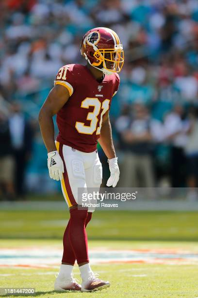 Fabian Moreau of the Washington Redskins in action against the Miami Dolphins during the second quarter at Hard Rock Stadium on October 13 2019 in...