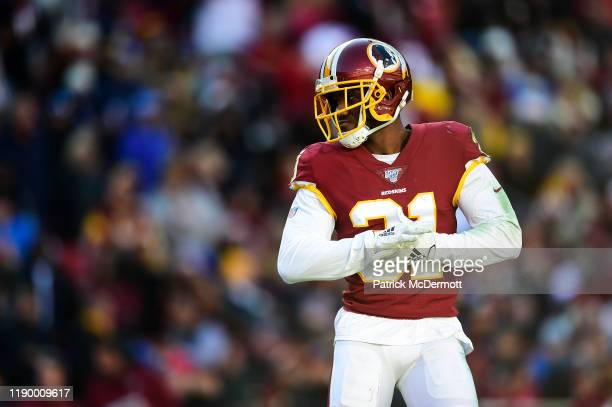 Fabian Moreau of the Washington Redskins in action in the first half against the Detroit Lions at FedExField on November 24, 2019 in Landover,...