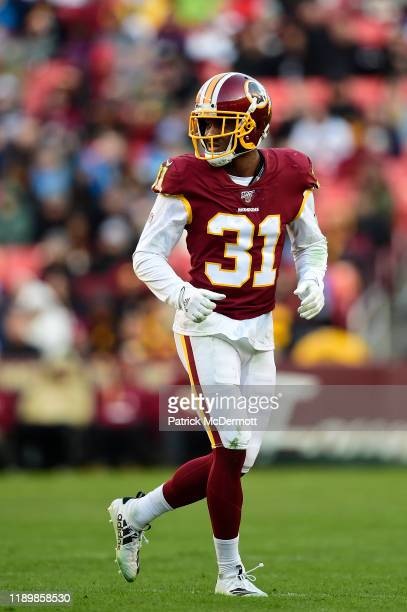 Fabian Moreau of the Washington Redskins in action in the second half against the Detroit Lions at FedExField on November 24, 2019 in Landover,...