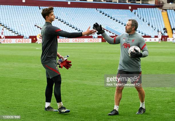 Fabian Mrozek of Liverpool with goalkeeper coach Neil Edwards during the FA Youth Cup Final between Aston Villa U18 and Liverpool U18, at Villa Park...