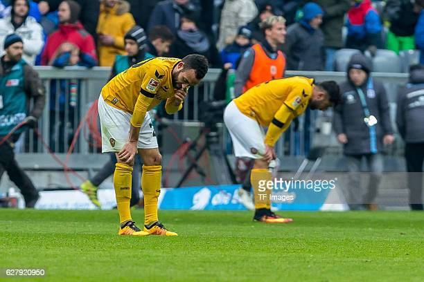 Fabian Mueller of Dynamo Dresden and Aias Aosman of Dynamo Dresden disappointed during the Second Bandesliga match between TSV 1860 Muenchen and...