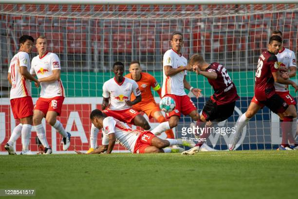 Fabian Nuernberger of 1FC Nuernberg during the DFB Cup first round match between 1 FC Nuernberg and RB Leipzig at MaxMorlockStadion on September 12...