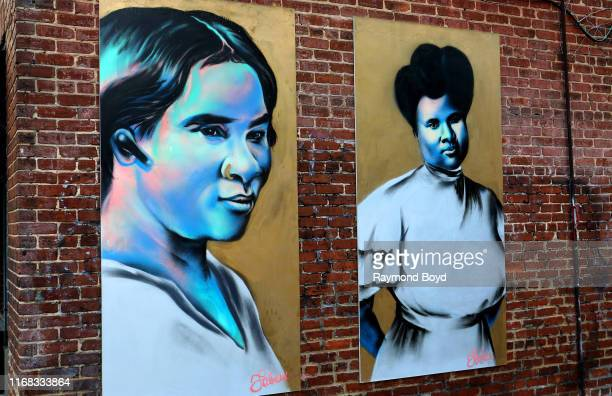 Fabian 'Occasional Superstar' Williams' 'Madam CJ Walker' mural is displayed in the Old Fourth Ward neighborhood in Atlanta, Georgia on July 27,...