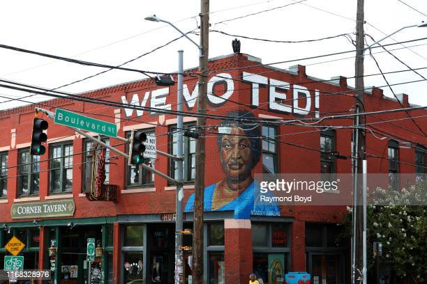 Fabian 'Occasional Superstar' Williams' mural of Stacey Abrams is displayed in the Old Fourth Ward neighborhood in Atlanta Georgia on July 27 2019...