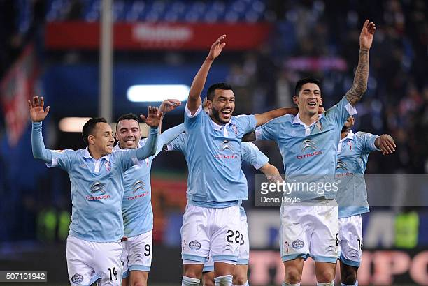 Fabian Orellana Iago Aspas Gustavo Cabral and Pablo Hernandez of Celta Vigo celebrate after Celta beat Club Atletico de Madrid 32 in the Copa del Rey...
