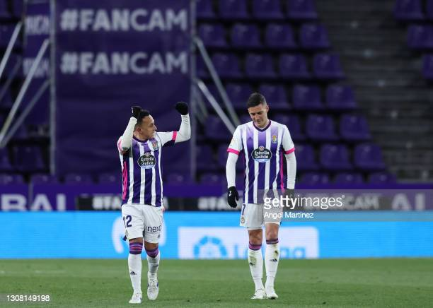 Fabian Orellana of Real Valladolid celebrates after scoring their team's first goal during the La Liga Santander match between Real Valladolid CF and...