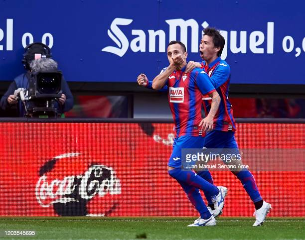 Fabian Orellana of SD Eibar celebrates after scoring goal during the Liga match between SD Eibar SAD and Real Betis Balompie at Ipurua Municipal...