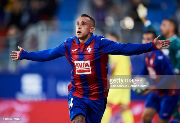 Fabian Orellana of SD Eibar celebrates after scoring his team's second goal during the La Liga match between SD Eibar and Villarreal CF at Ipurua...