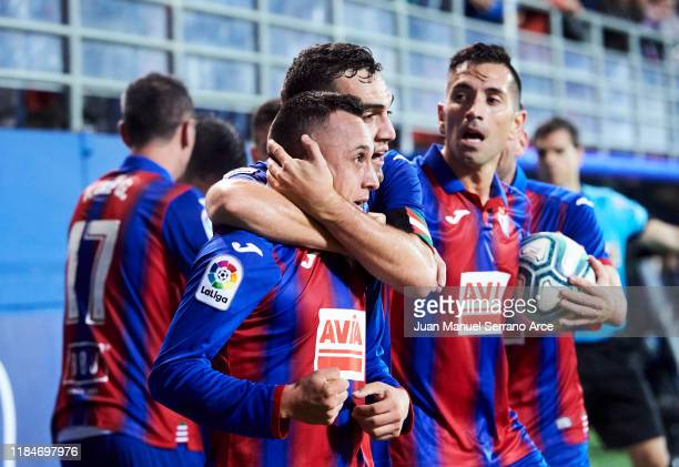 Fabian Orellana of SD Eibar celebrates after scoring his team's second goal during the La Liga match between SD Eibar and Villarreal CF at Ipurua...