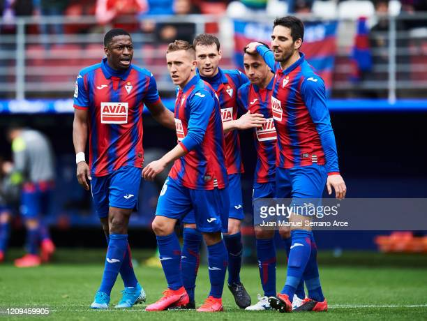Fabian Orellana of SD Eibar celebrates after scoring his team's third goal during the Liga match between SD Eibar SAD and Levante UD at Ipurua...