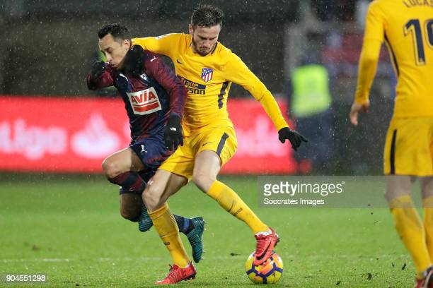 Fabian Orellana of SD Eibar Saul Niguez of Atletico Madrid during the La Liga Santander match between Eibar v Atletico Madrid at the Estadio...
