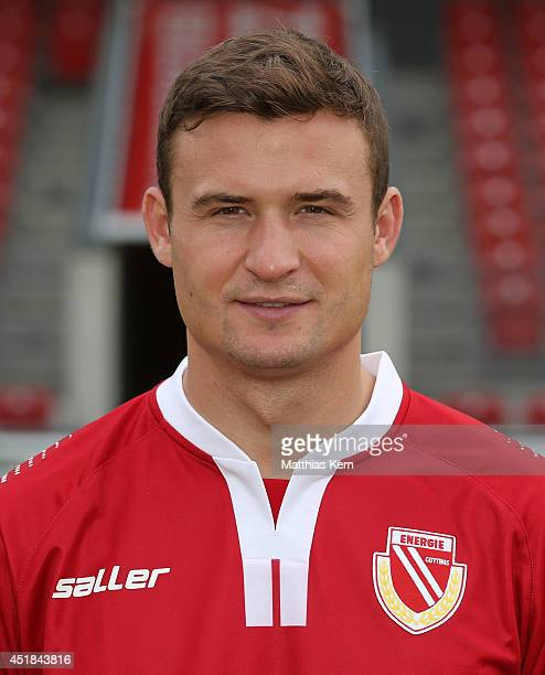 Fabian Pawela poses during the FC Energie Cottbus team presentation at Stadion der Freundschaft on July 8 2014 in Cottbus Germany