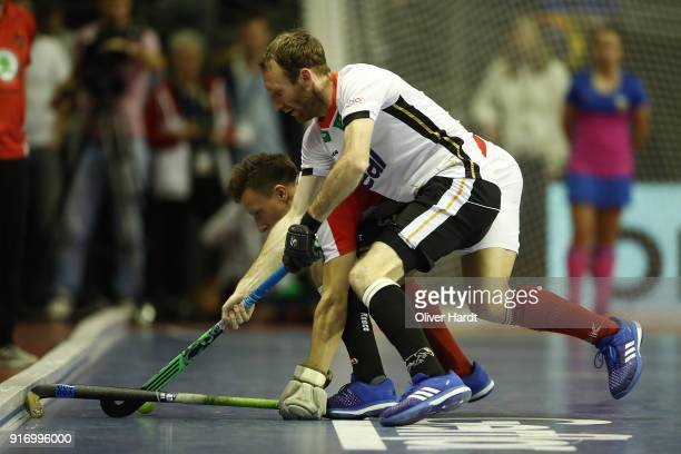 Fabian Pehlke of Germany and Dominic Uher of Austria compete for the ball during the Mens Gold Medal Indoor Hockey World Cup Berlin Final Day match...