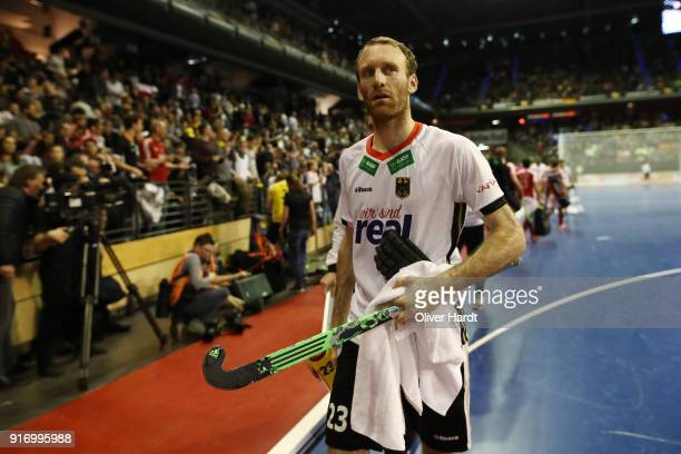 Fabian Pehlke of Germany appears frustrated during the Mens Gold Medal Indoor Hockey World Cup Berlin Final Day match between Germany and Austria on...