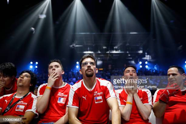 Fabian Portilla of Chile Baptiste Beauvois of France and Angel Inostroza of Chile react during the Nations Cup Grand Final at Luna Park on February...