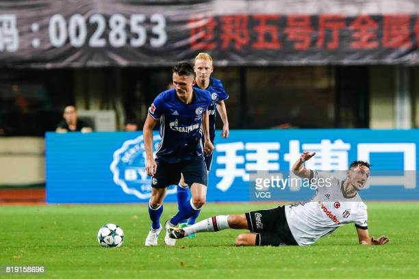 Fabian Reese of FC Schalke 04 and Matej Mitrovic of Besiktas comepte for the ball during the 2017 International soccer match between Schalke 04 and...