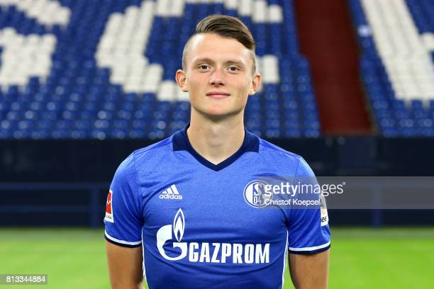 Fabian Reese of FC Schalke 04 poses during the team presentation at Veltins Arena on July 12 2017 in Gelsenkirchen Germany