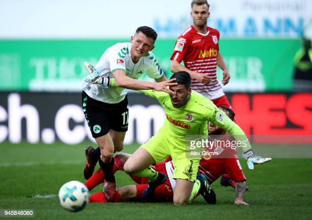 Fabian Reese of Fürth fails to score over Philipp Pentke goalkeeper of Regensburg during the Second Bundesliga match between SpVgg Greuther Fuerth...