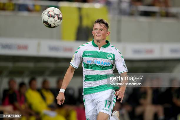 Fabian Reese of Fuerth runs with the ball during the DFB Cup first round match between SpVgg Greuther Fuerth and BVB Borussia Dortmund at Sportpark...