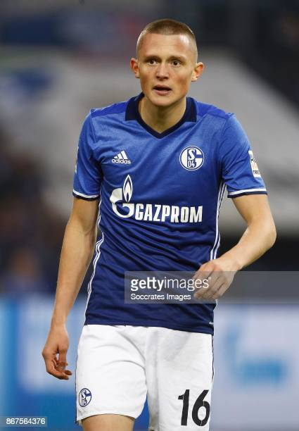 Fabian Reese of Schalke 04 during the German Bundesliga match between Schalke 04 v VFL Wolfsburg at the Veltins Arena on October 28 2017 in...