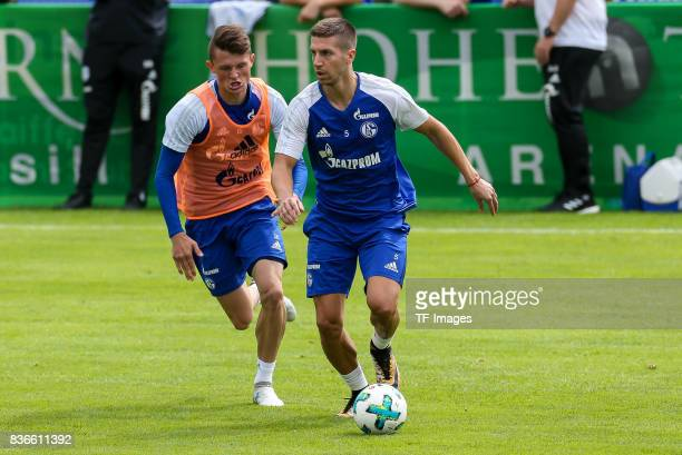 Fabian Reese of Schalke and Matija Nastasic of Schalke battle for the ball during the Training Camp of FC Schalke 04 on July 27 2017 in Mittersill...