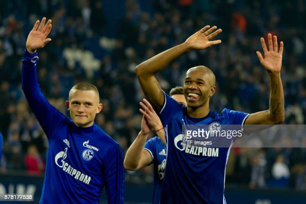 Fabian Reese of Schalke and Naldo of Schalke celebrates after winning the Bundesliga match between FC Schalke 04 and Hamburger SV at VeltinsArena on...