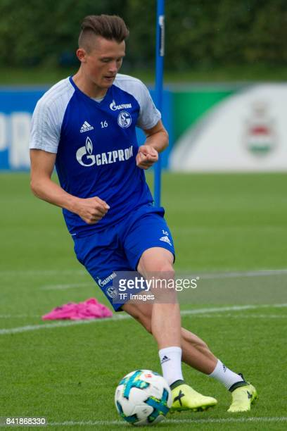 Fabian Reese of Schalke controls the ball during a training session at the FC Schalke 04 Training center on August 30 2017 in Gelsenkirchen Germany
