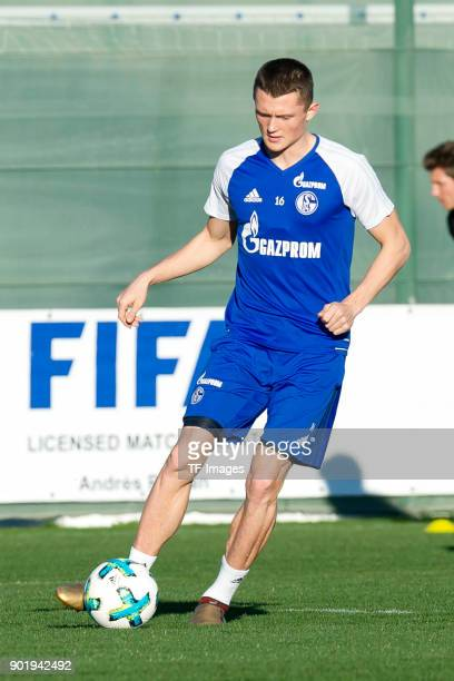 Fabian Reese of Schalke controls the ball during the FC Schalke 04 training camp at Hotel Melia Villaitana on January 04 2018 in Benidorm Spain