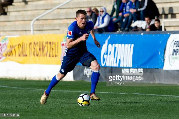 Fabian Reese of Schalke controls the ball during the Friendly match between FC Schalke 04 and KRC Genk at Estadio Municipal Guillermo Amor on January...