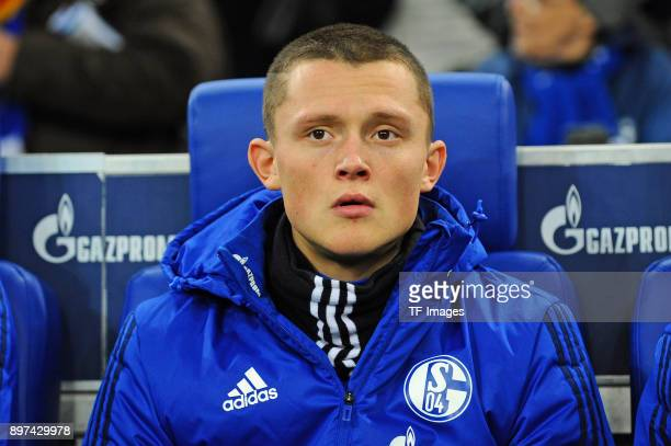 Fabian Reese of Schalke looks on prior to the Bundesliga match between FC Schalke 04 and FC Augsburg at VeltinsArena on December 13 2017 in...