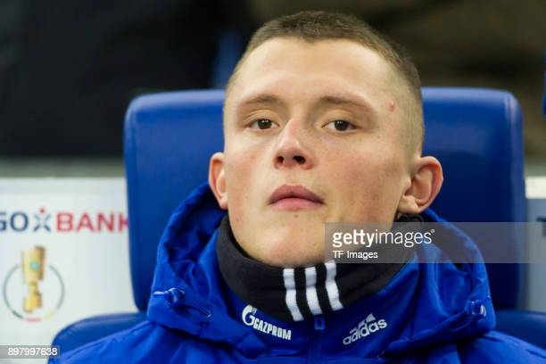 Fabian Reese of Schalke looks on prior to the DFB Cup match between FC Schalke 04 and 1 FC Koeln at VeltinsArena on December 19 2017 in Gelsenkirchen...
