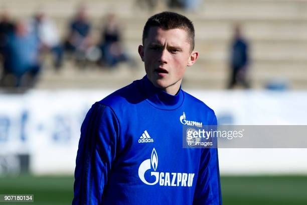 Fabian Reese of Schalke looks on prior to the Friendly match between FC Schalke 04 and KRC Genk at Estadio Municipal Guillermo Amor on January 07...
