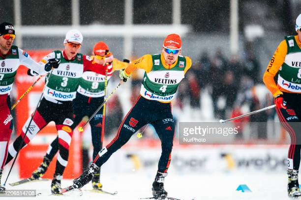 Fabian Riessle competes during the Men Individual Gundersen LH/10.0km of the FIS Nordiic Combined World Cup in Lahti, Finland, on March 1, 2020.