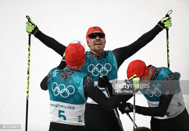 Fabian Riessle of Germany celebrates after crossing the finish line during the Nordic Combined Individual Gundersen 10km CrossCountry on day eleven...